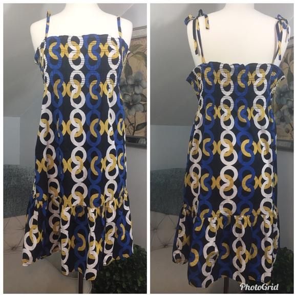 J. Crew Dresses & Skirts - J CREW Chain Link Dress Blue Yellow White Black